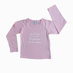 T-shirt ML &quot;La princesse de sa maman&quot;<br>1 couronne Rose