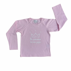 T-shirt ML &quot; La princesse de son papa&quot;<br>1 couronne Rose