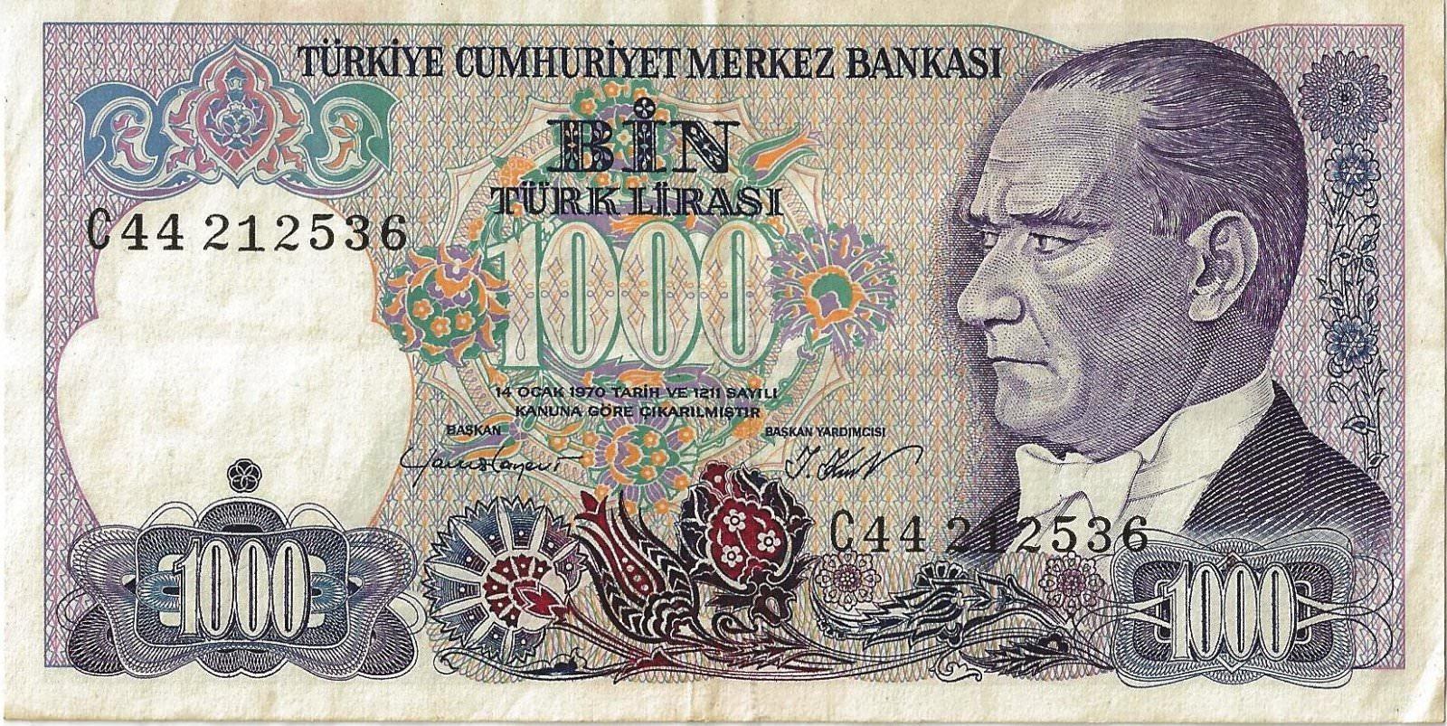 BILLET TURQUIE 1000 LIRA - Monnaies et Billets/Billets de banque d
