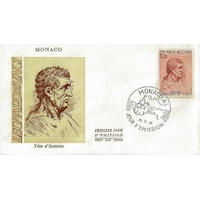 ENVELOPPE 1er JOUR 1969 / TETE D'HOMME PAR LEONARD DE VINCI / MONACO