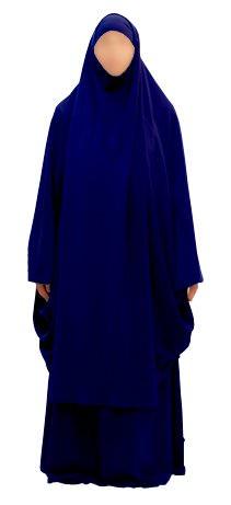 jilbab 2 pi ces abousoule man couleur bleu marine pr t porter femme planete muslim. Black Bedroom Furniture Sets. Home Design Ideas
