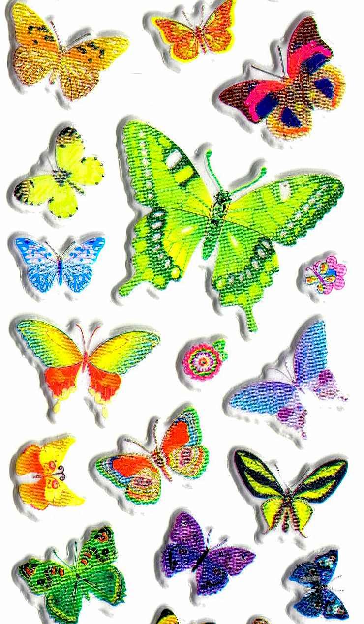 Gommettes autocollantes papillons charmants - Modele de papillon a imprimer ...
