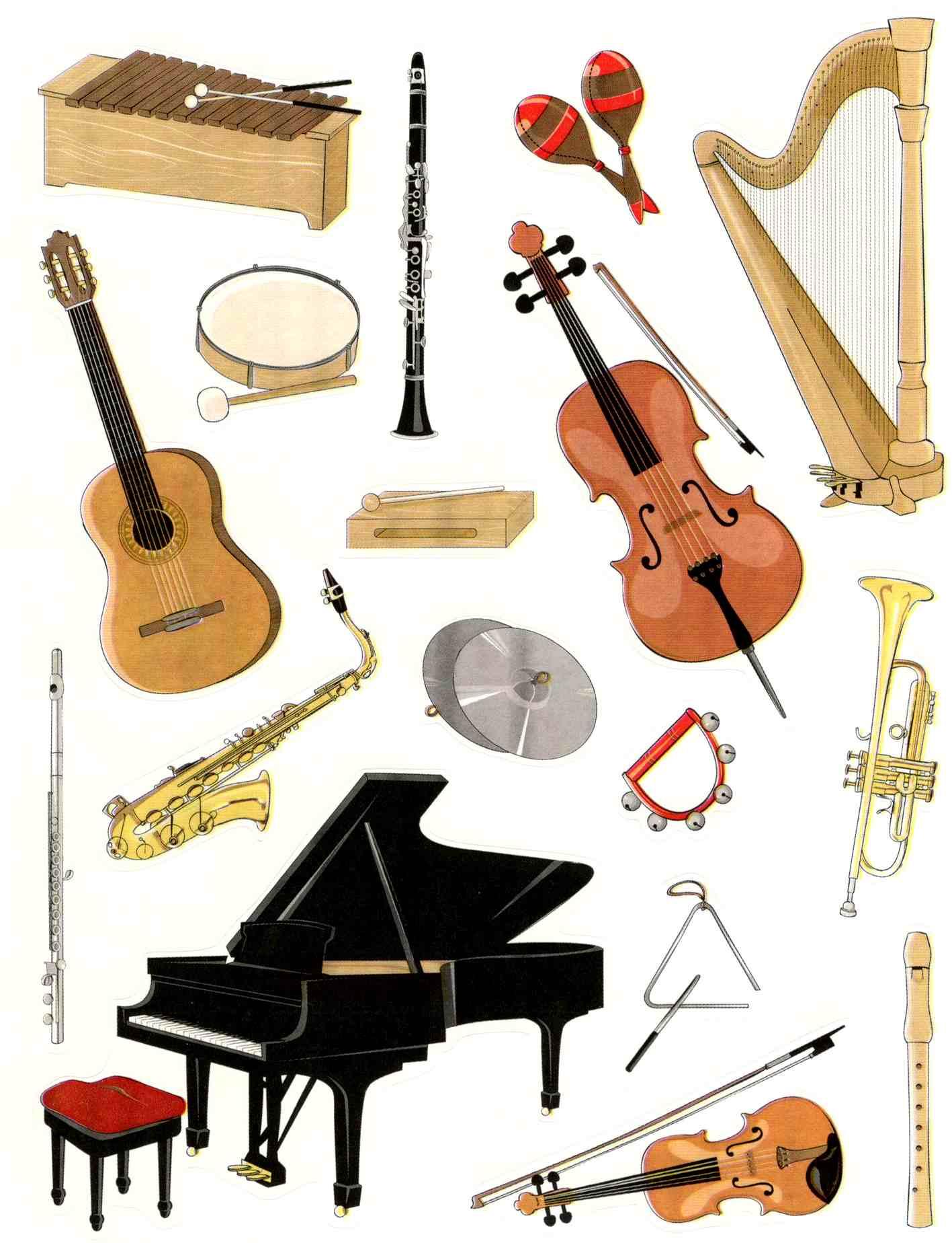 Gommettes instruments de musique gommettes enfants gommettes fantaisie magommette - Image instrument de musique a colorier ...