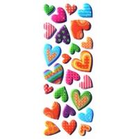 Stickers Coeurs Saint Valentin Paillettes 22x9cm 3D