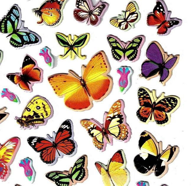 Stickers papillons grande taille 3d gommettes enfants magommette - Image de papillon a imprimer ...