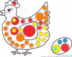 modele dessin a imprimer gommette poule