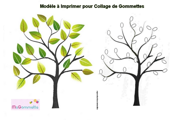 collage de gommettes arbre imprimer mod les de dessins imprimer pour gommettes magommette. Black Bedroom Furniture Sets. Home Design Ideas