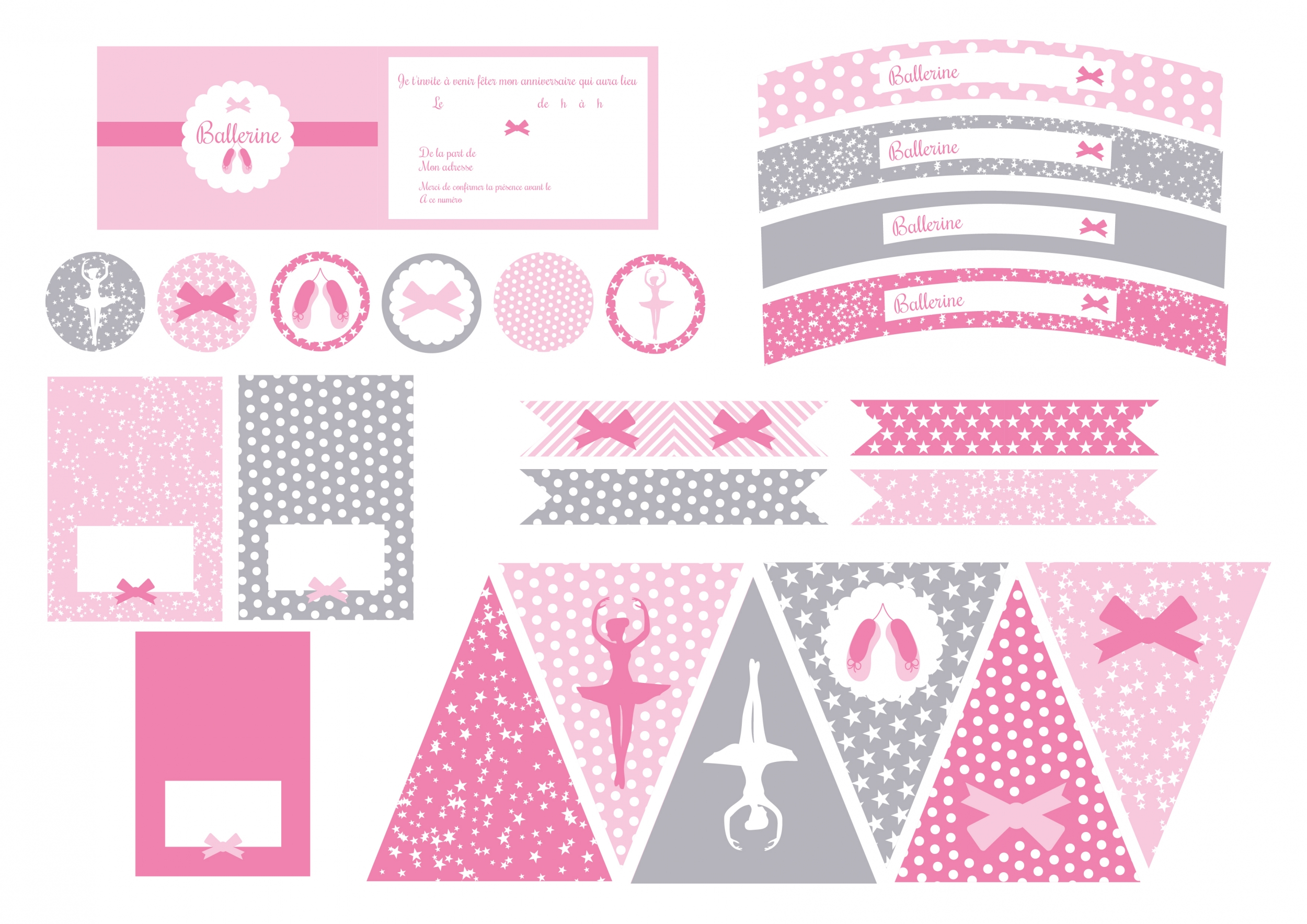 ballerine d coration printable anniversaire sweet. Black Bedroom Furniture Sets. Home Design Ideas