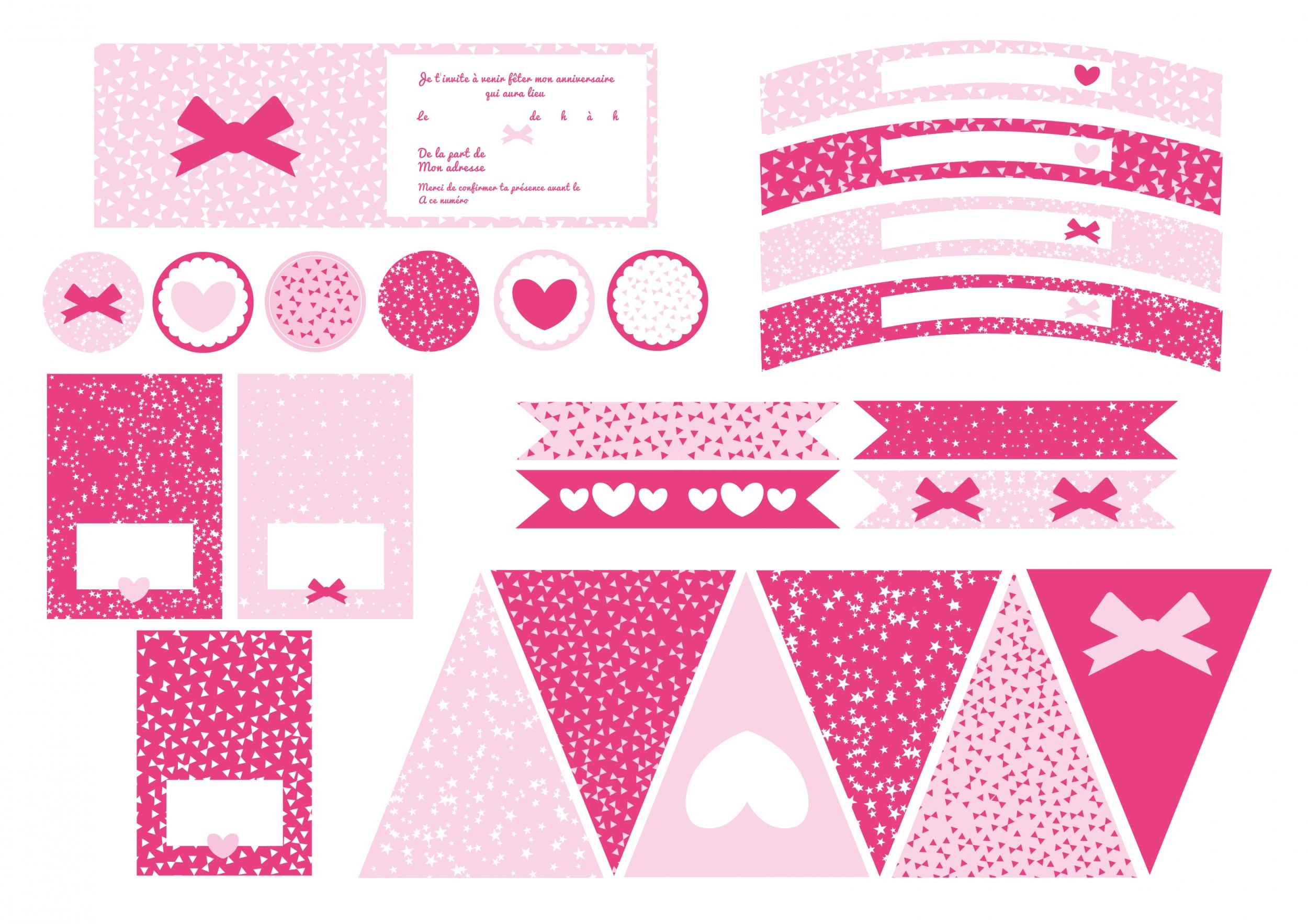 filles d coration printable anniversaire sweet party day. Black Bedroom Furniture Sets. Home Design Ideas
