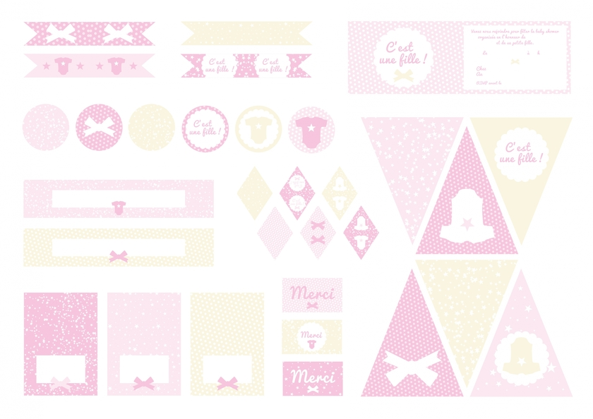 Printable baby shower c 39 est une fille d coration printable baby shower sweet party day - Idee baby shower fille ...
