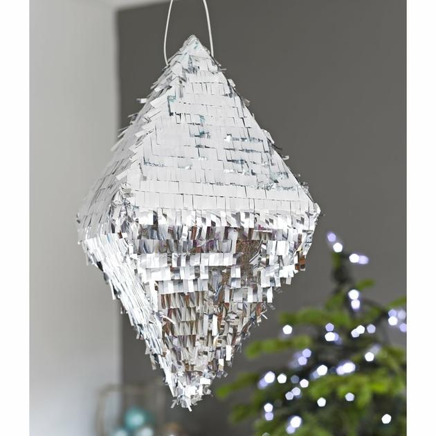 pinata pour mariage forme diamant glitter argent pas cher. Black Bedroom Furniture Sets. Home Design Ideas