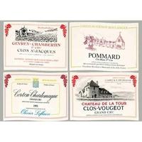Sets de table vins de Bourgognes en tissu la série de 4  ( existe aussi en Bordeaux)