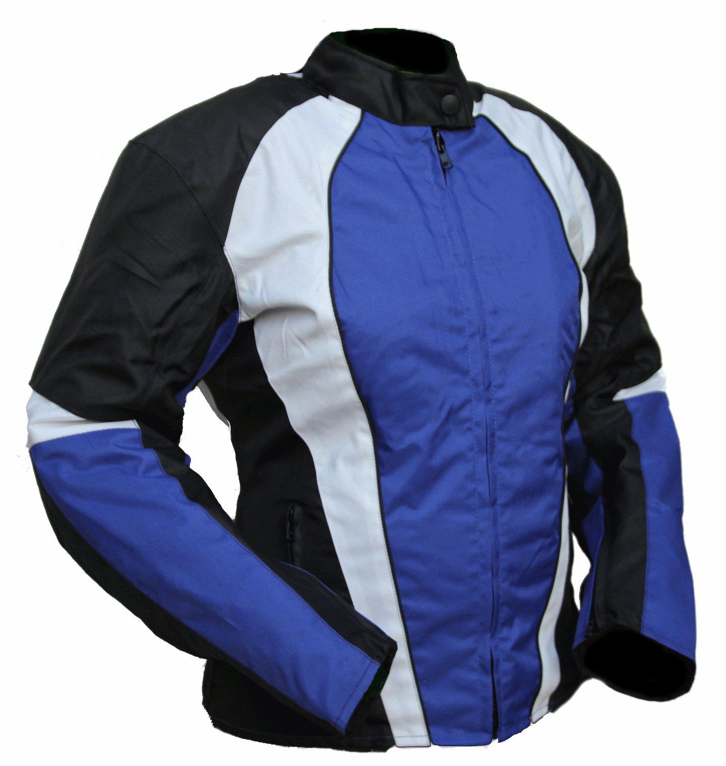 kt011 blouson moto femme karno cintr typhoon bleu. Black Bedroom Furniture Sets. Home Design Ideas