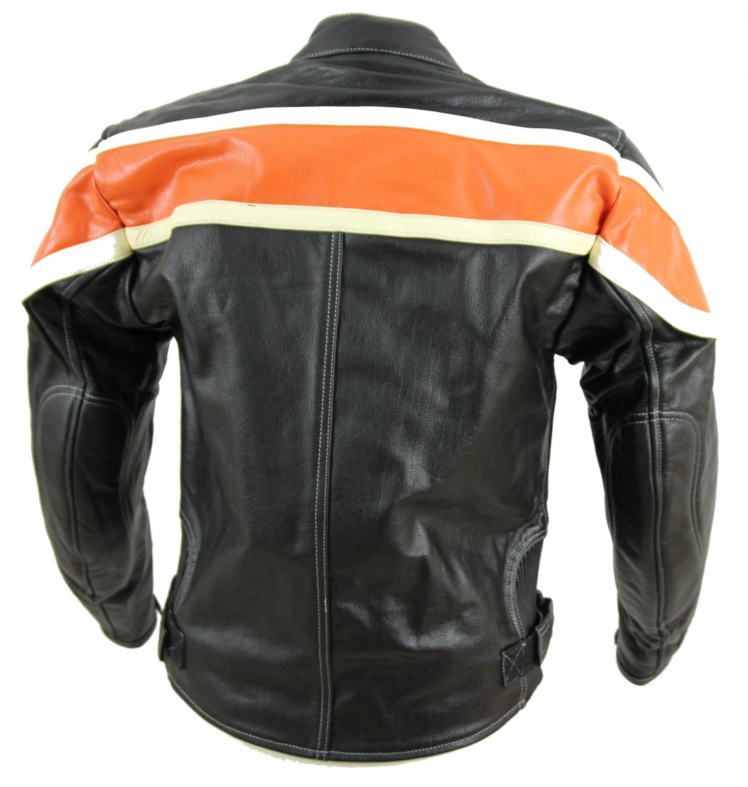 kc011 blouson moto chopper karno motorsport cuir noir orange biker usa style ebay. Black Bedroom Furniture Sets. Home Design Ideas