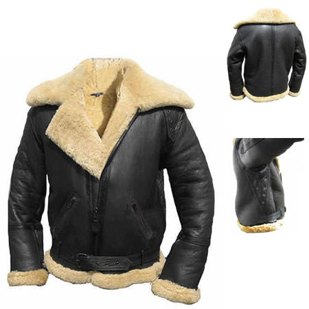 kc025 veste blouson aviation hiver en cuir noir fourr karno tr s chaude blouson veste. Black Bedroom Furniture Sets. Home Design Ideas