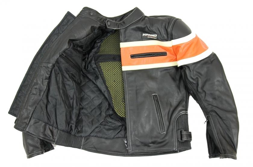 kc011 blouson moto chopper karno motorsport cuir noir orange biker usa style blouson veste. Black Bedroom Furniture Sets. Home Design Ideas