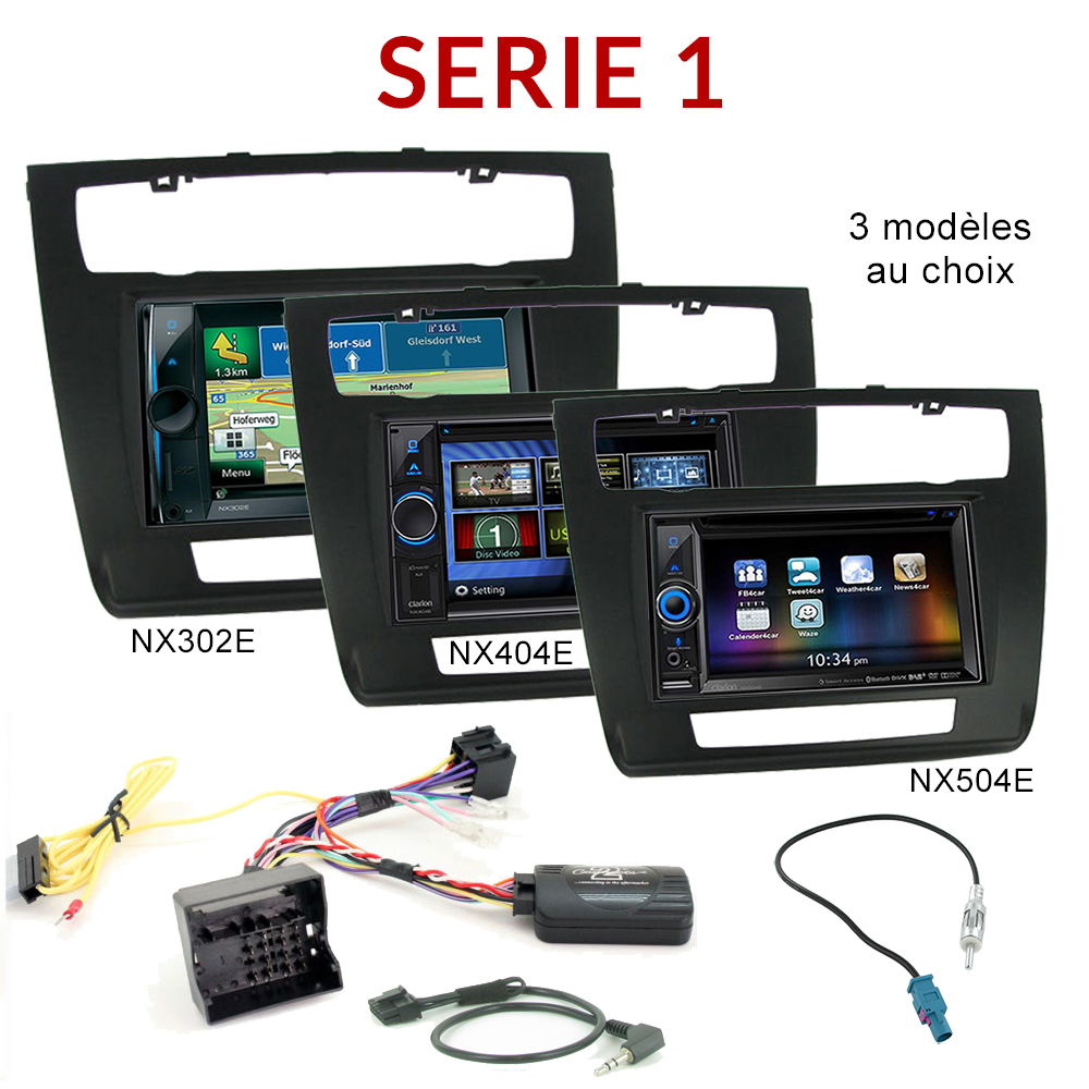autoradio gps bmw s rie 1 cran tactile dvd bluetooth clarion autoradios. Black Bedroom Furniture Sets. Home Design Ideas