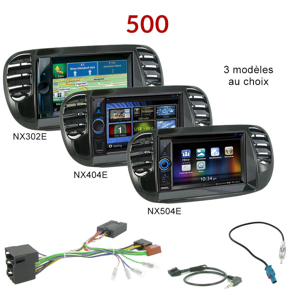 autoradio gps fiat 500 poste dvd navigation clarion fiat 500 autoradios gps. Black Bedroom Furniture Sets. Home Design Ideas