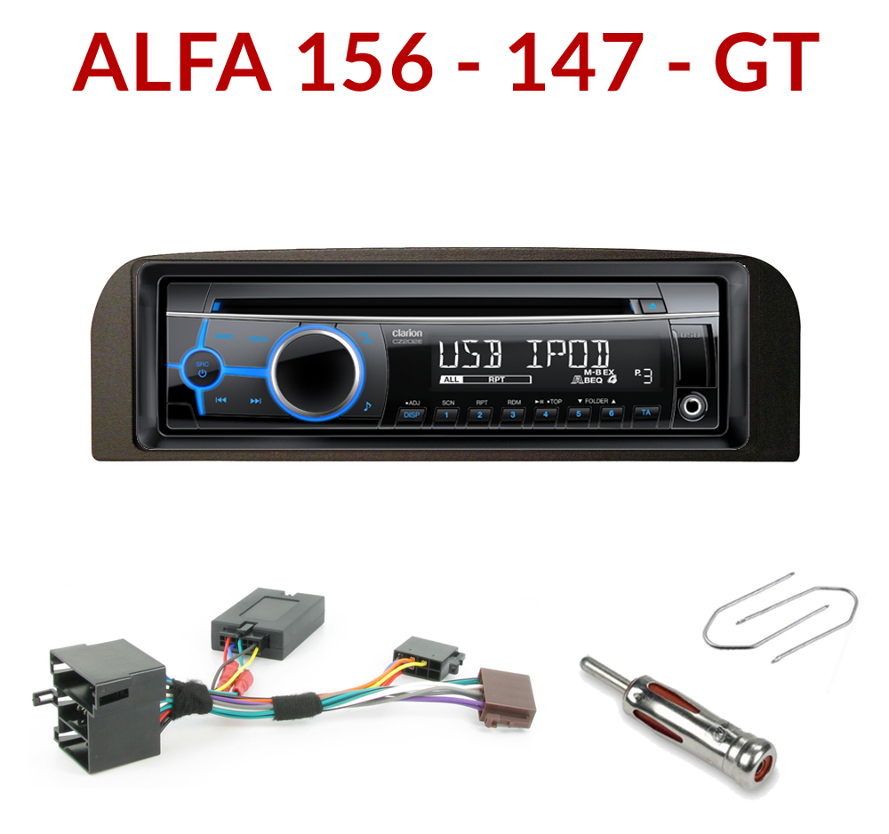 autoradio 1 din alfa romeo 147 156 gt poste cd usb mp3 wma clarion alfa romeo autoradios. Black Bedroom Furniture Sets. Home Design Ideas
