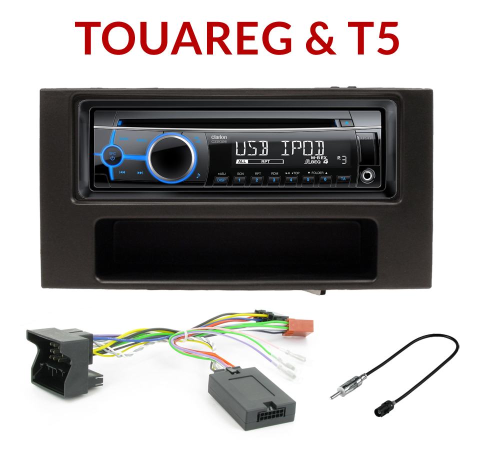 autoradio 1 din vw touareg multivan transporteur poste cd usb mp3 wma clarion autoradios. Black Bedroom Furniture Sets. Home Design Ideas