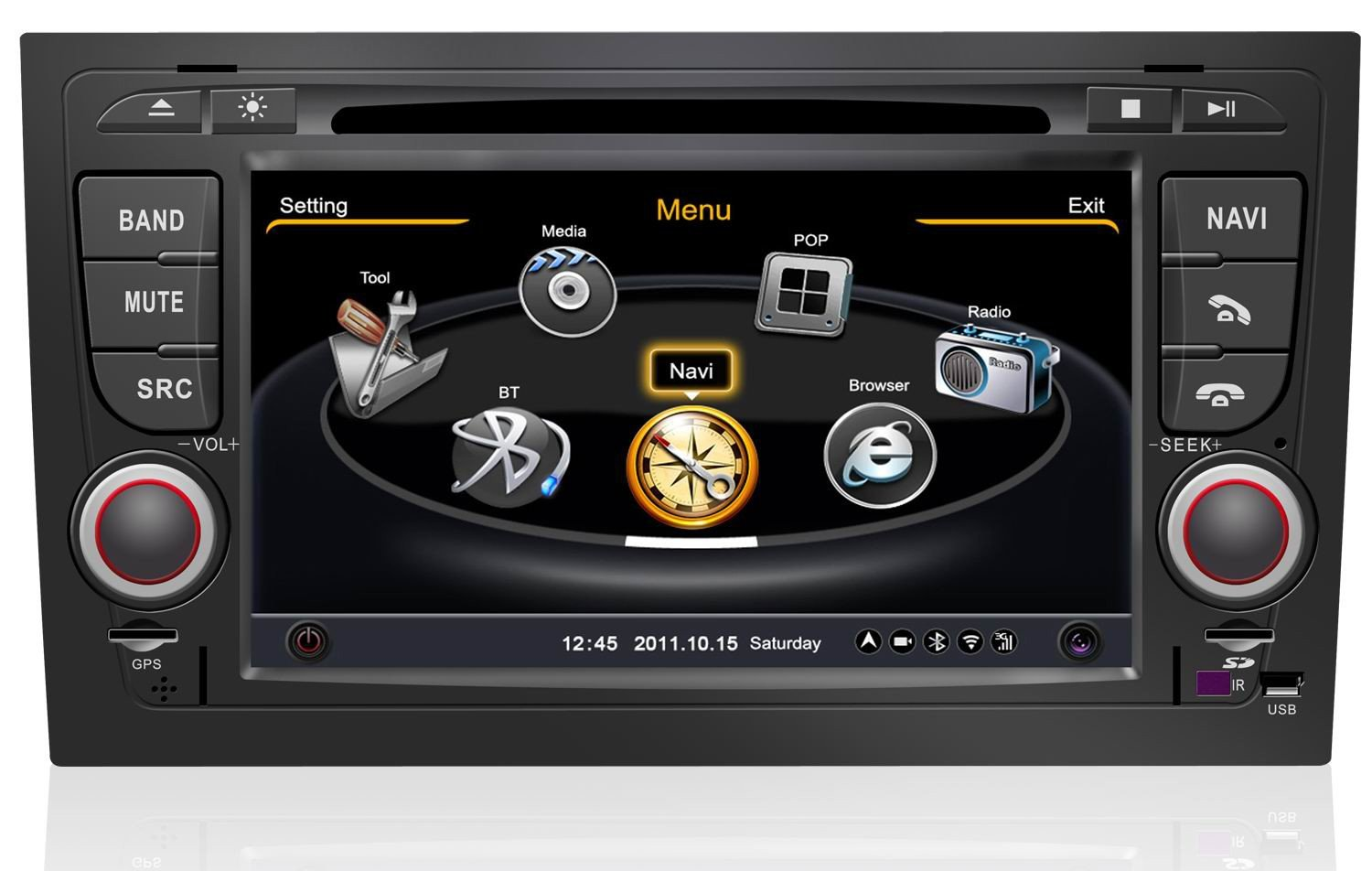 poste gps audi a4 autoradio dvd bluetooth a4 mains libres usb ipod autoradios gps. Black Bedroom Furniture Sets. Home Design Ideas