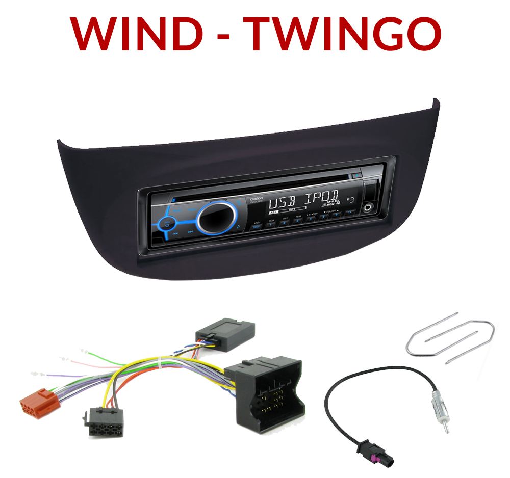 autoradio 1 din renault wind twingo poste cd usb mp3 wma clarion renault autoradios. Black Bedroom Furniture Sets. Home Design Ideas