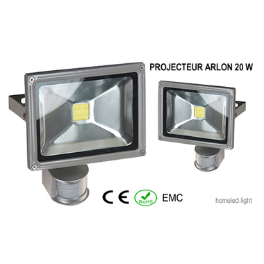 Projecteur ext rieur led cob arlon 20 w avec detecteur de presence homeled light eclairage for Projecteur led avec detecteur de presence