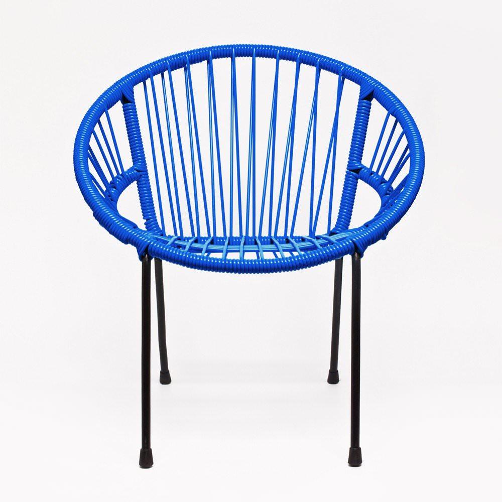 Chaise tica scoubidou bleu enfants mobilier enfants for Chaise en fil scoubidou