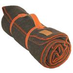 Plaid laine Chocolat finition Point de Cheval Orange - Midipy