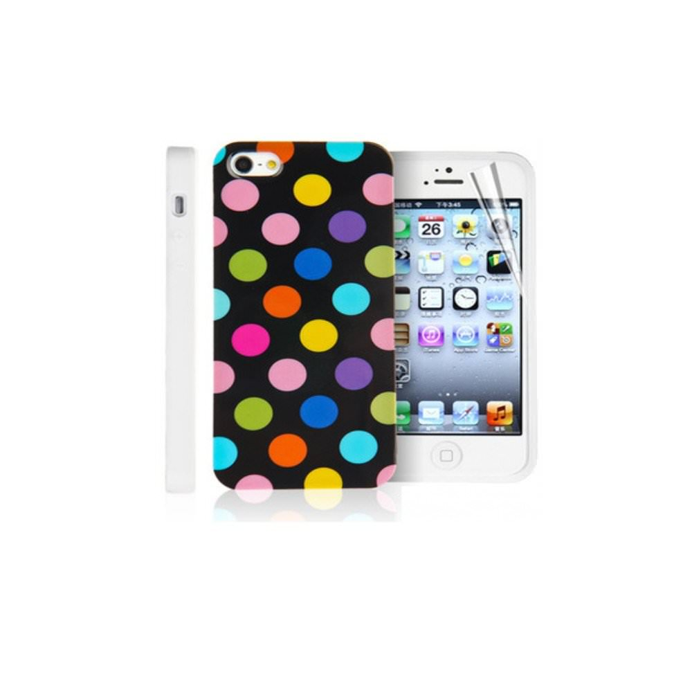 Etui housse coque pois polka multicouleur iphone 5c ebay for Housse iphone 5c