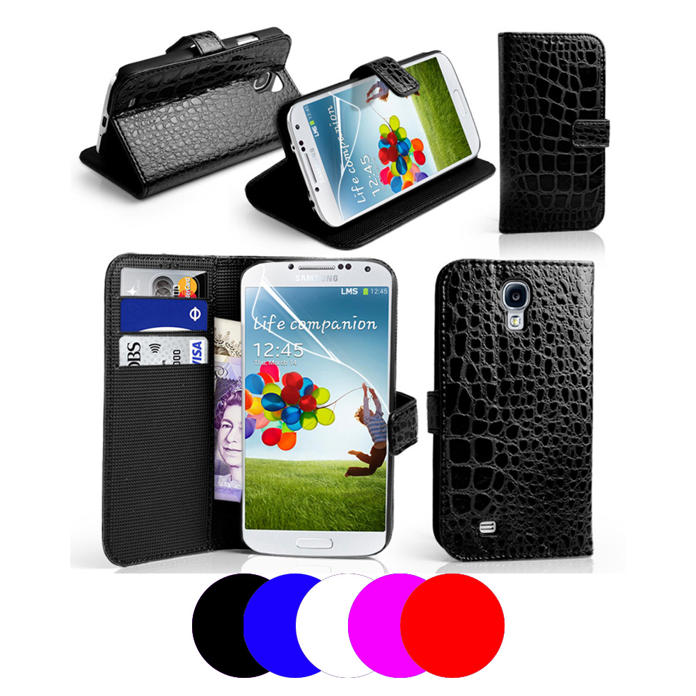 Etui housse coque portefeuille crocodile samsung galaxy s4 for Housse samsung galaxy s4