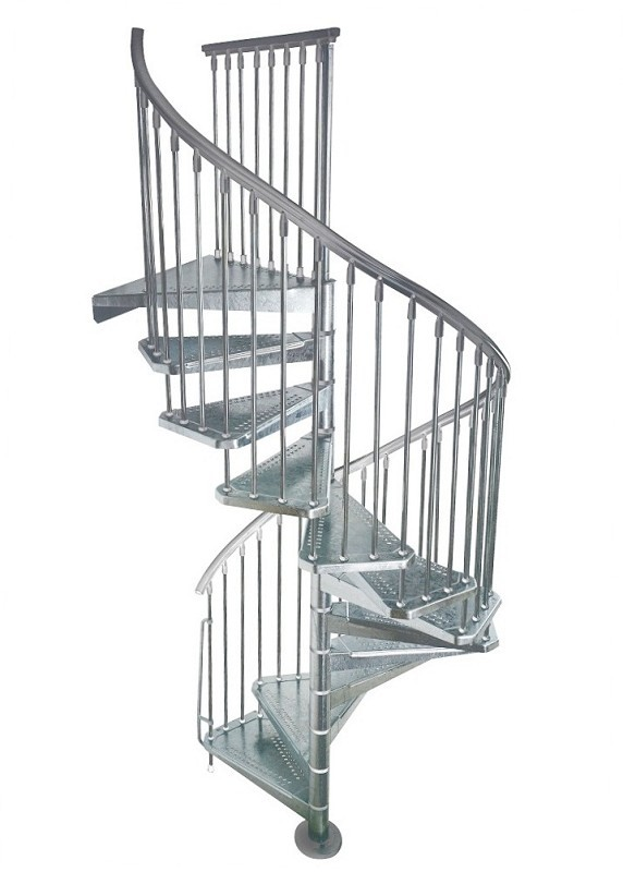 Pin escalier h lico dal acier galvanis en kit civik zink for Escalier helicoidal exterieur