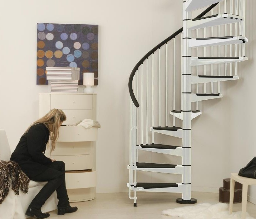 escalier h lico dal ark civik en acier blanc et noir 140 cm. Black Bedroom Furniture Sets. Home Design Ideas