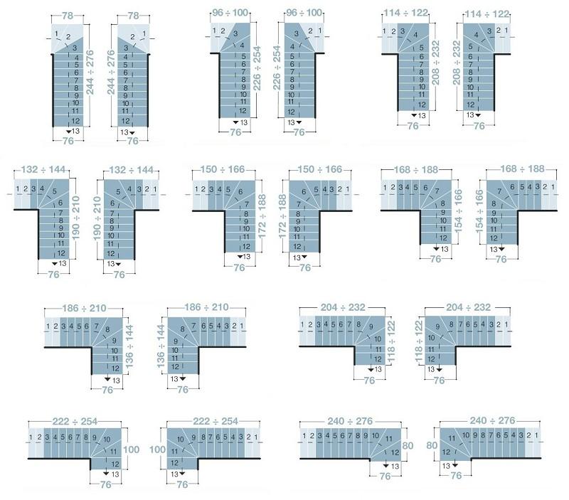 Escalier ark kompact en m tal et h tre massif 70 cm escaliers quart tourna - Largeur escalier colimacon ...