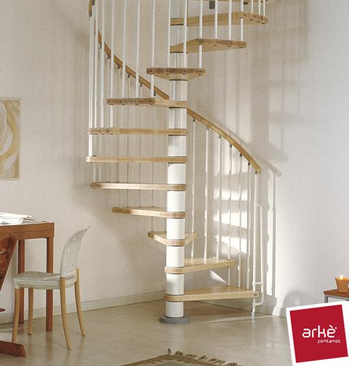 Escalier h lico dal ark klan en acier blanc et h tre 140 cm - Escalier colimacon design ...