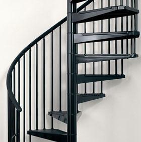 Escalier en colima on spirale ark civik en acier noir 140 cm - Escalier colimacon acier ...