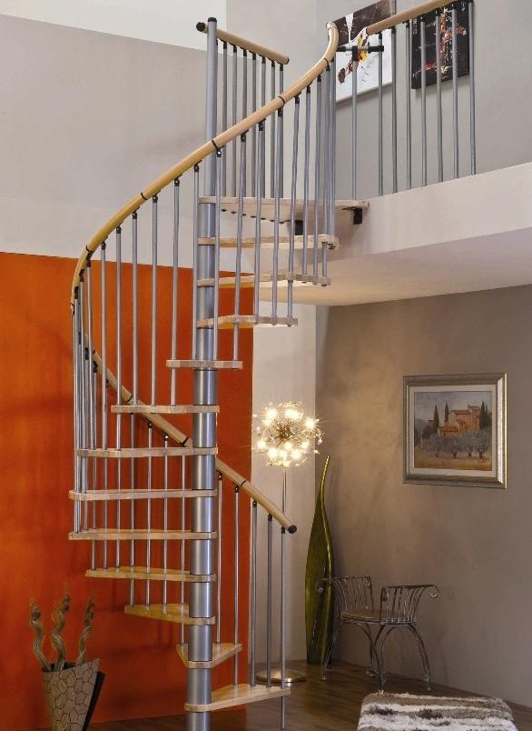 escalier h lico dal minka en acier gris m tallis et h tre massif 140 cm escaliers en. Black Bedroom Furniture Sets. Home Design Ideas