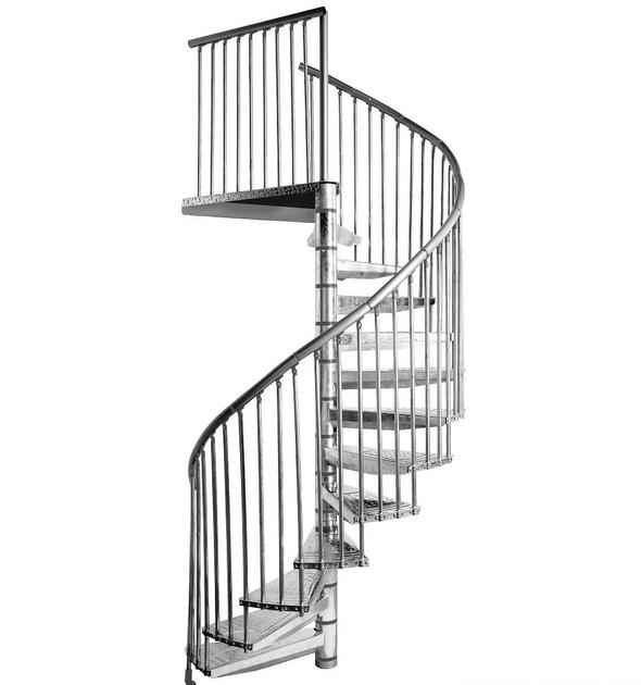 Escalier h lico dal ext rieur minka en acier galvanis 160 cm escaliers d - Escalier helicoidal acier ...