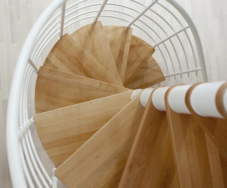 Escalier h lico dal en acier blanc et h tre dolle oslo for Dimension escalier bois