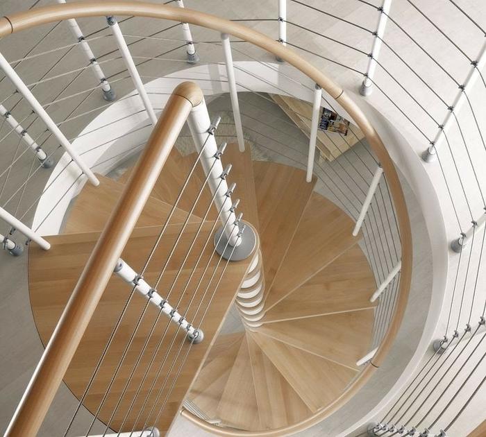 Escalier h lico dal ark klo en acier blanc et h tre 140 cm - Escalier colimacon acier ...