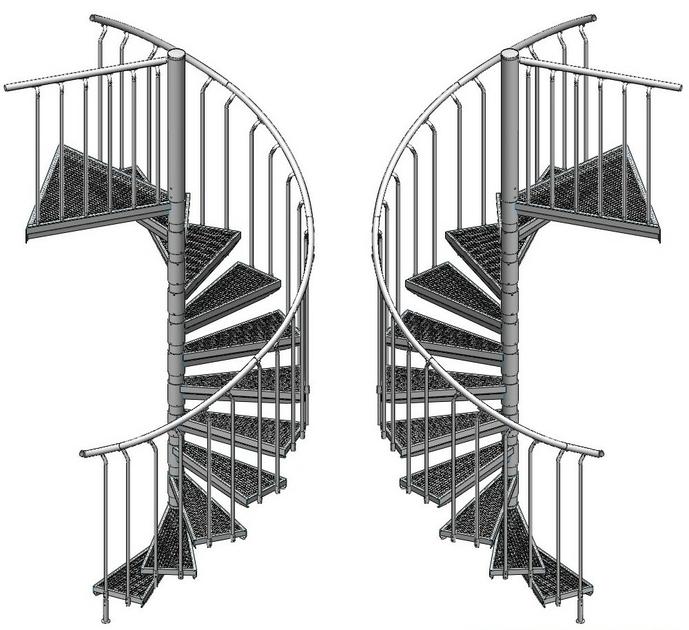 Escalier h lico dal ext rieur d 39 issue de secours acier for Escalier helicoidal exterieur