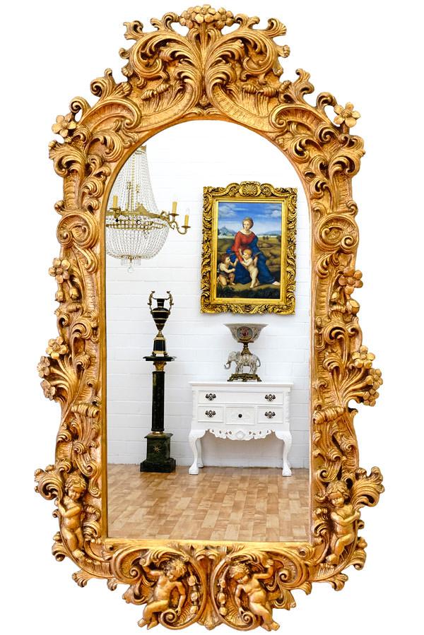 Miroir rococo 120 x 60 cm cadre en bois dor miroirs for Miroir cadre dore