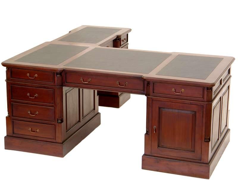 Bureau d angle style anglais en acajou avec sous main noir for Meuble d angle bureau noir