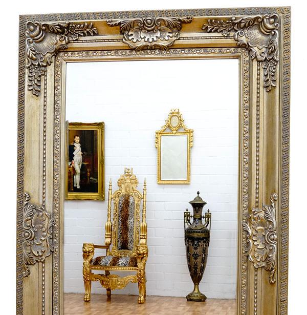 miroir baroque cadre en bois argent 156x95 cm miroirs baroques classic stores. Black Bedroom Furniture Sets. Home Design Ideas
