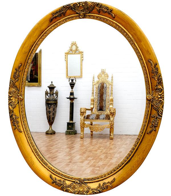 Miroir baroque ovale cadre en bois dor 59x49 cm miroirs for Miroir baroque dore
