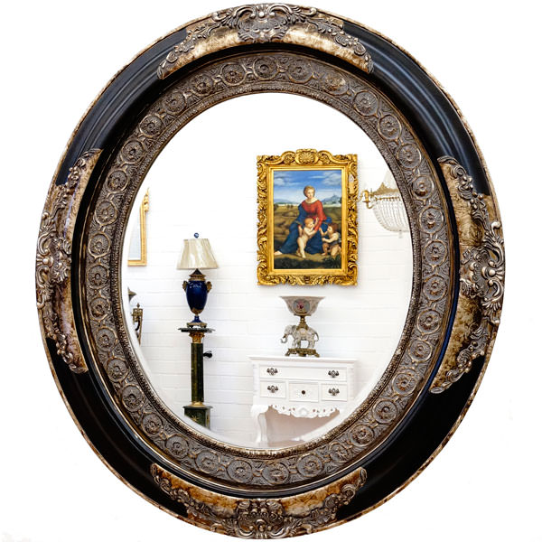 Miroir baroque ovale cadre en bois noir et argent 90x78 cm for Miroir noir baroque