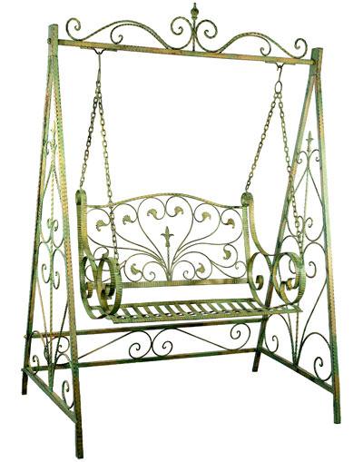 Table De Jardin Aluminium Et Bois : fer forgé vert patiné  Mobilier et décoration de jardinBancs de