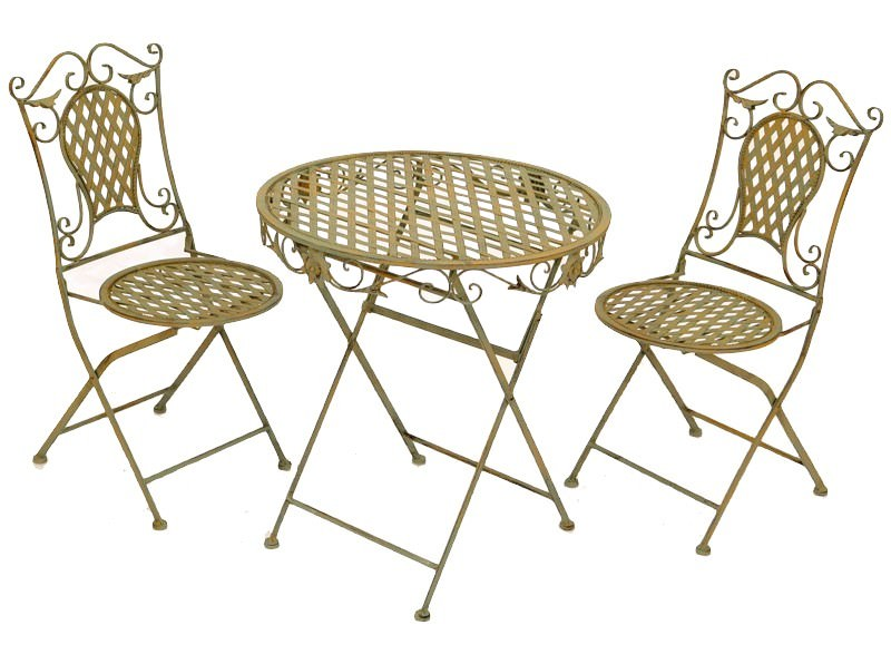 2 chaises et 1 table en fer forg vert antique mobilier for Salon de jardin fer forge