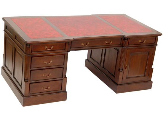 bureau de style anglais 180 cm en acajou avec sous main rouge meubles de style bureaux de. Black Bedroom Furniture Sets. Home Design Ideas