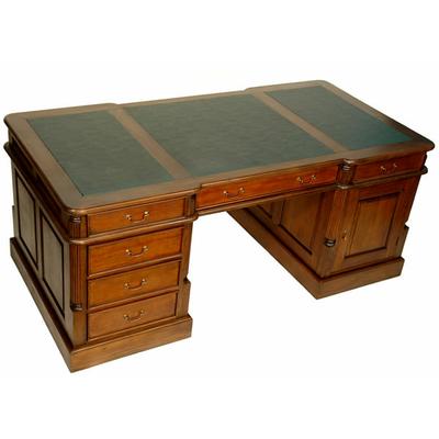 bureau de style anglais 180 cm en acajou avec sous main vert meubles de style bureaux de style. Black Bedroom Furniture Sets. Home Design Ideas
